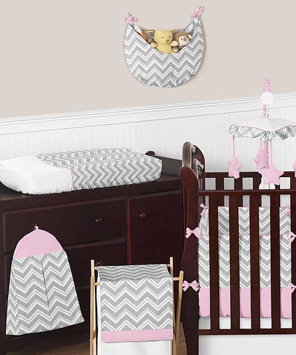 Zig zag pink gray chevron print crib bedding set for Zig zag bedroom ideas