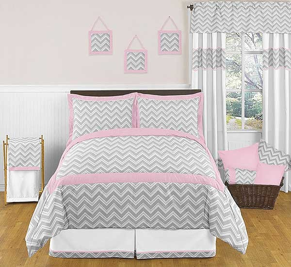 Zig zag pink gray chevron print bedding set 3 piece for Zig zag bedroom ideas