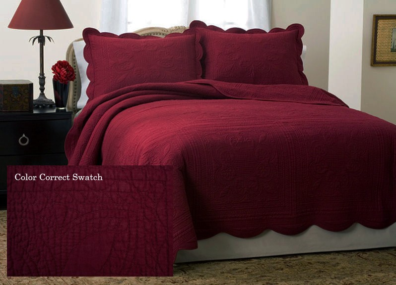 French Tile Deep Red Quilt Full Size Clearance