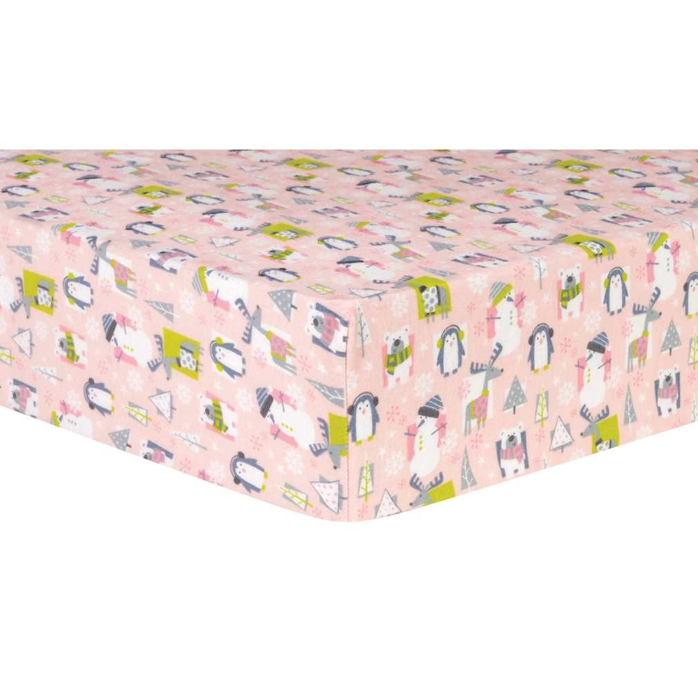 Snow Pals Pink Deluxe Flannel Fitted Crib Sheet