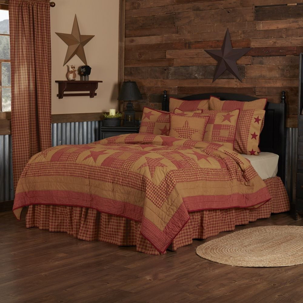 Ninepatch Star Quilt - Twin Size Set