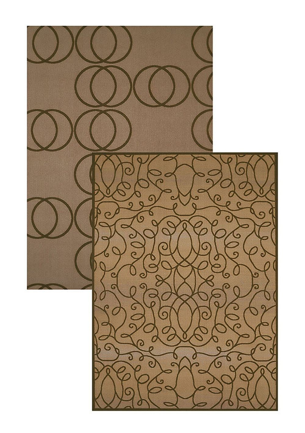 "Scrolling Circles Taupe Area Rug (60"" X 83"")"