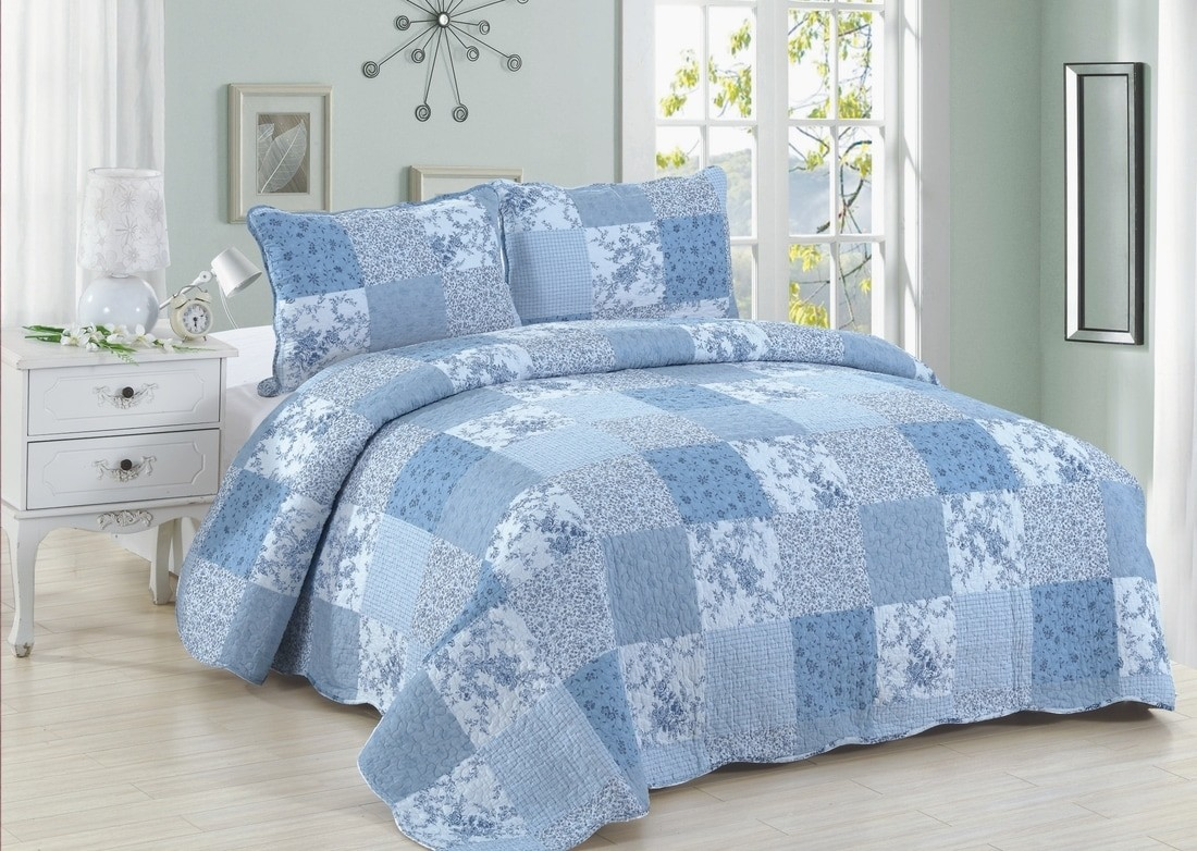 Blue Patch Quilt Set King Size American Hometex Quilts