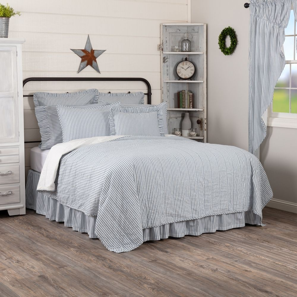 Sawyer Mill Blue Ticking Stripe Quilt - Twin Size Coverlet