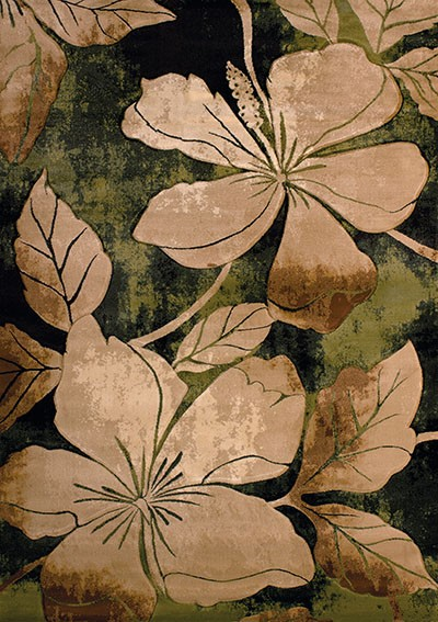 Floral Canvas Green Area Rug - Transitional Style Area Rug