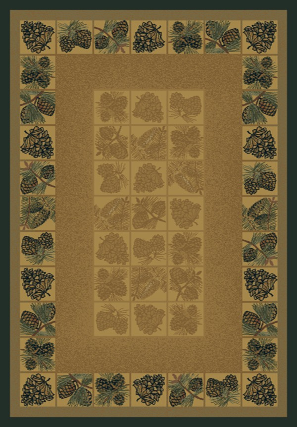 Pine Cones Natural Area Rug - Cabin Style Area Rug