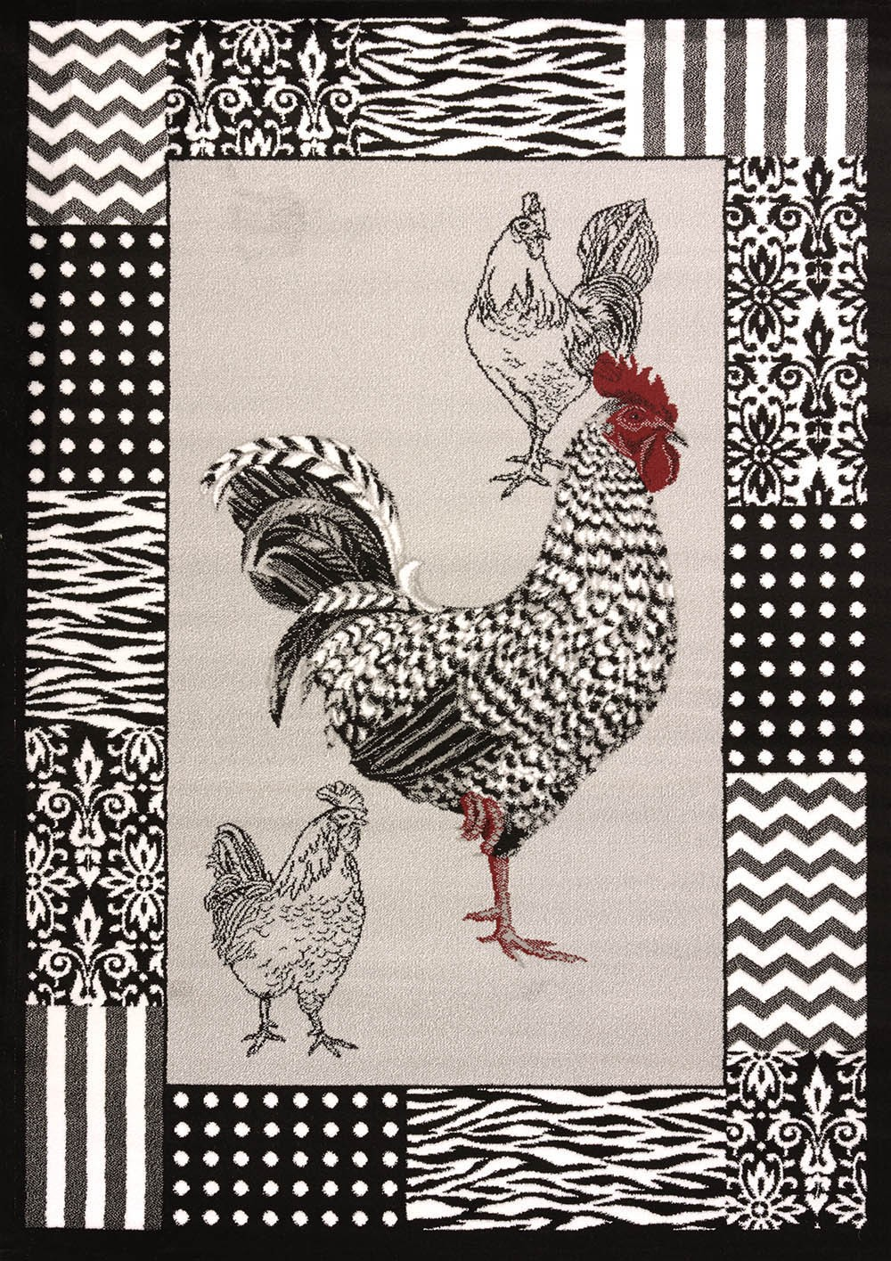 "Bw Rooster Grey Area Rug (63"" X 86"")"