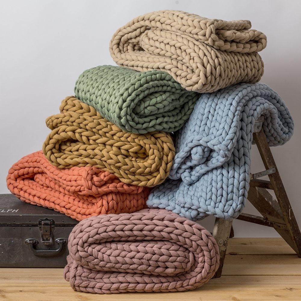 Chunky Knit Throw - Available in Several Beautiful Colors