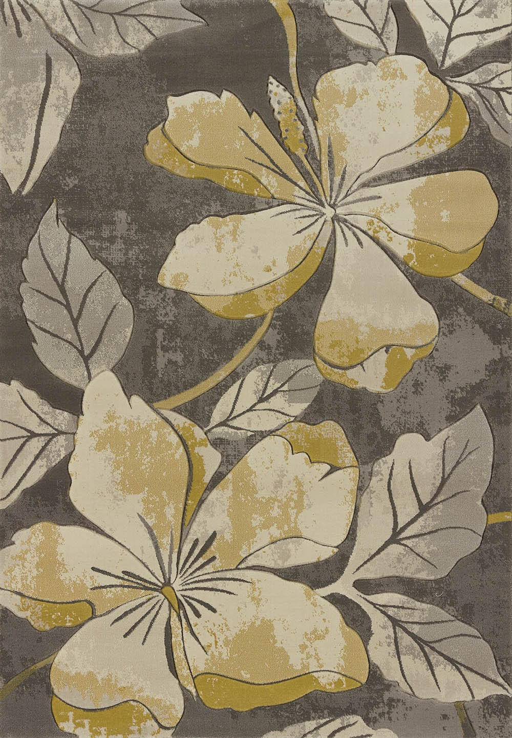 Floral Canvas Grey Area Rug - Transitional Style Area Rug