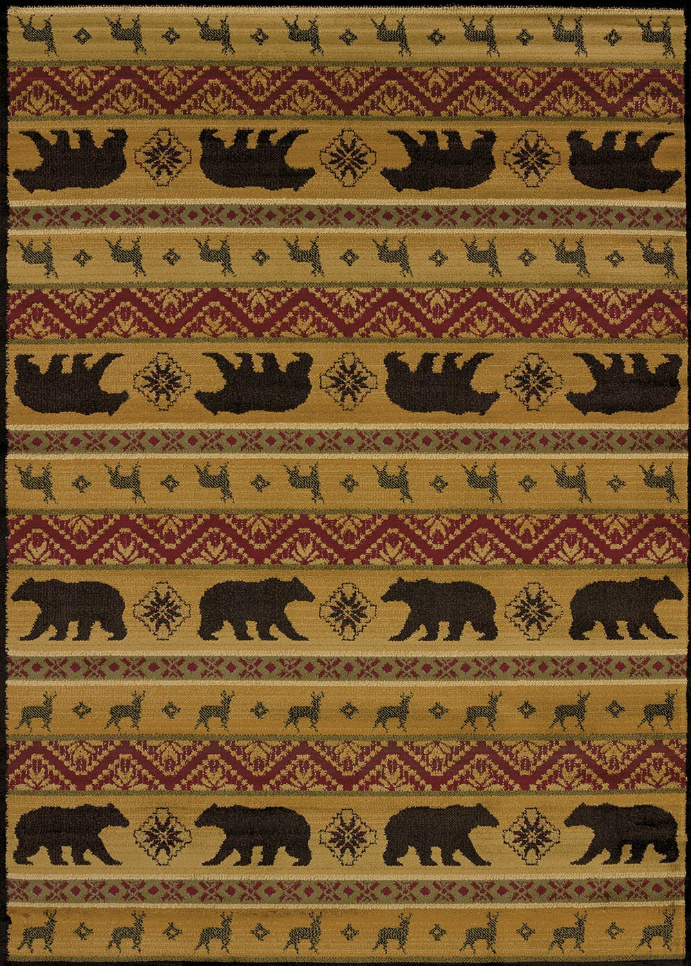 Nordic Bear Spice Area Rug - Cabin Style Area Rug
