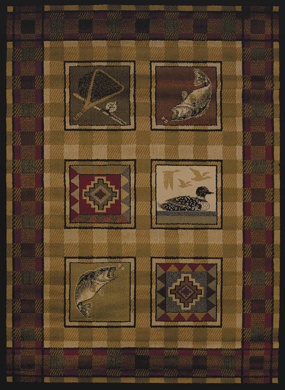 Lodge Stamp Area Rug - Cabin Style Area Rug