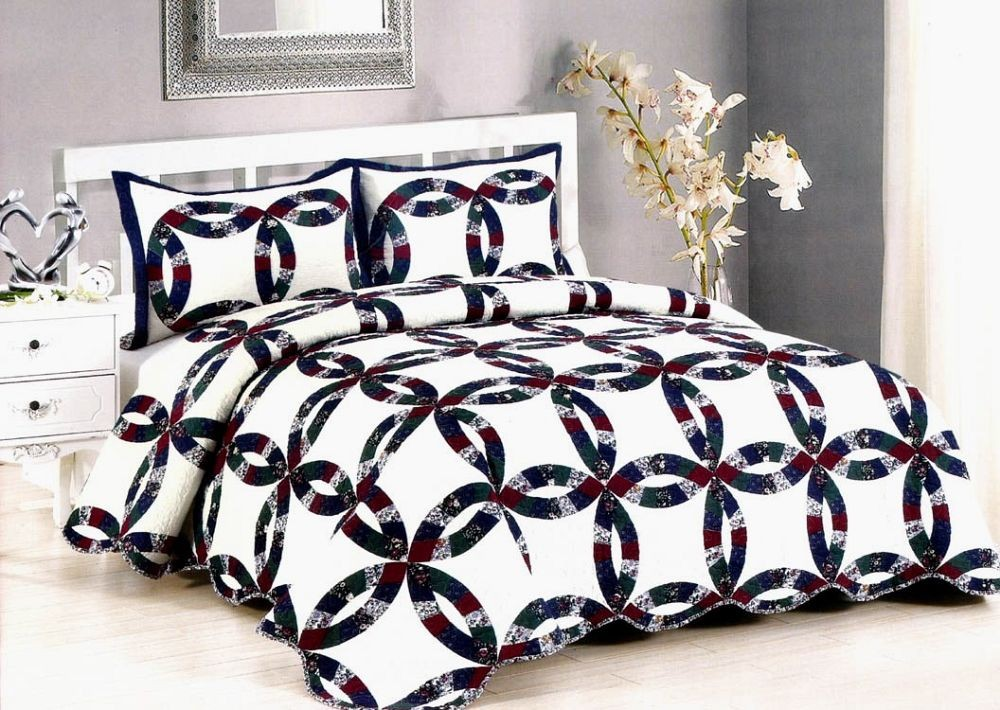 Royal Wedding Ring Quilt - Full/Queen Size - Includes (2) Shams