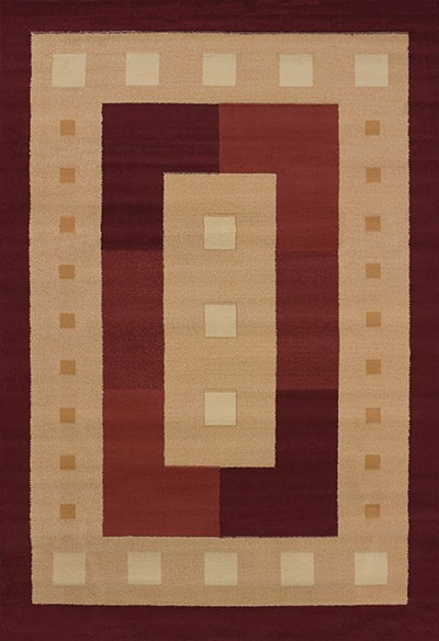Time Square Burgundy Area Rug - Geometric Style Area Rug Area Rug