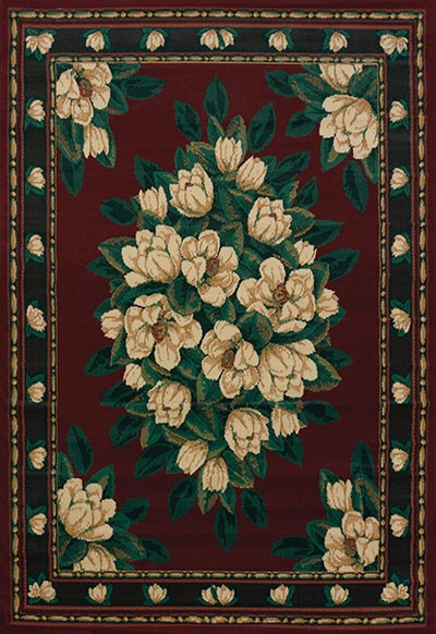 Magnolia Burgundy Area Rug - Traditional Style Area Rug