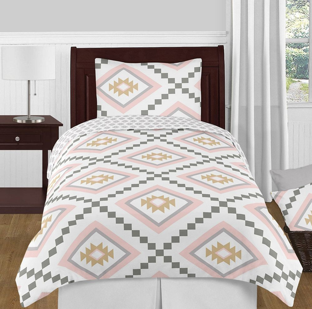 Aztec Pink Amp Gray Bedding Set 4 Piece Twin Size By Sweet