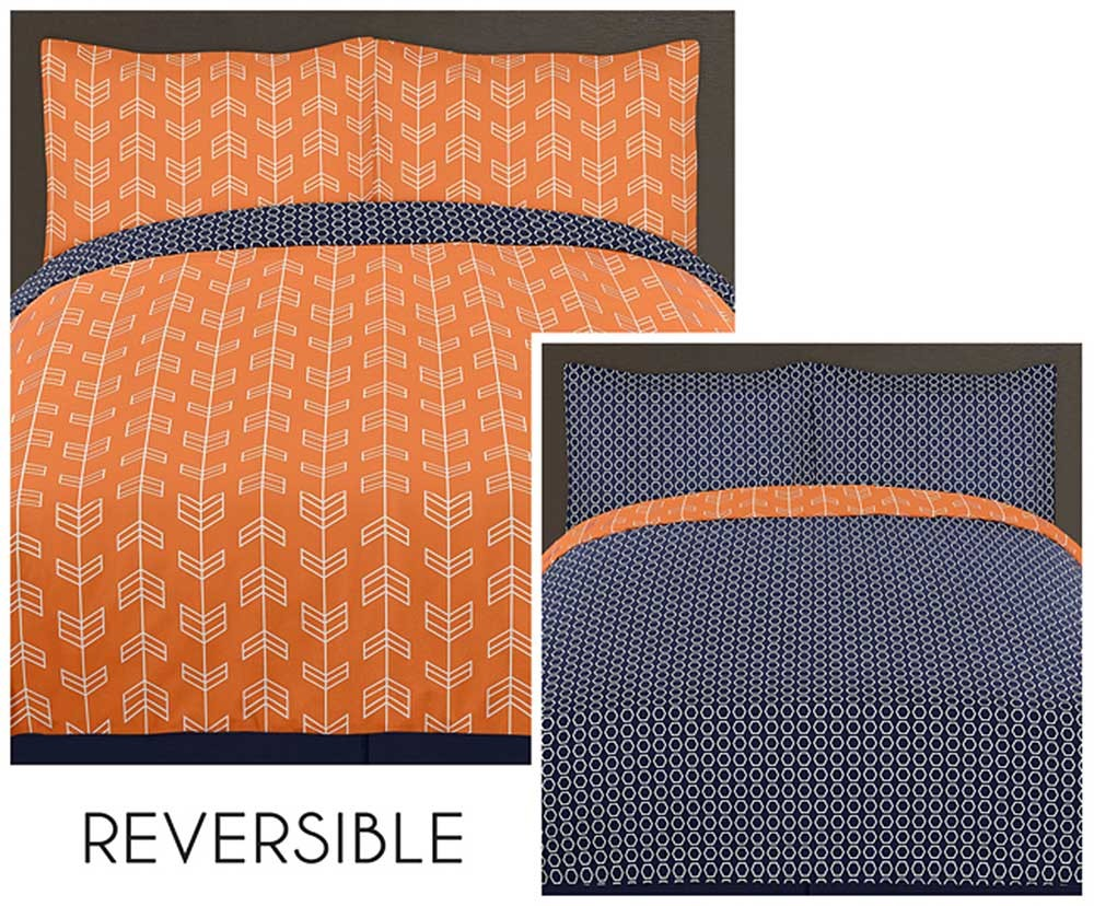 Ideal Arrow Orange & Navy Comforter Set - 3 Piece Full/Queen Size By  XM67