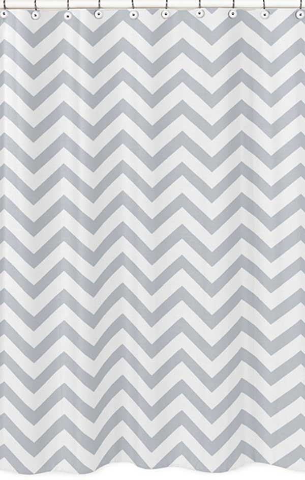 Grey White Chevron Print Shower Curtain