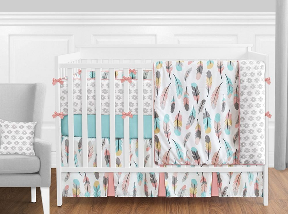 Feather Turquoise & Coral Crib Set by Sweet Jojo Designs