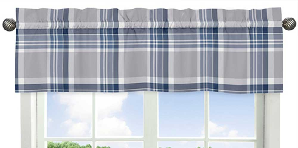 Navy Blue And Gray Valance