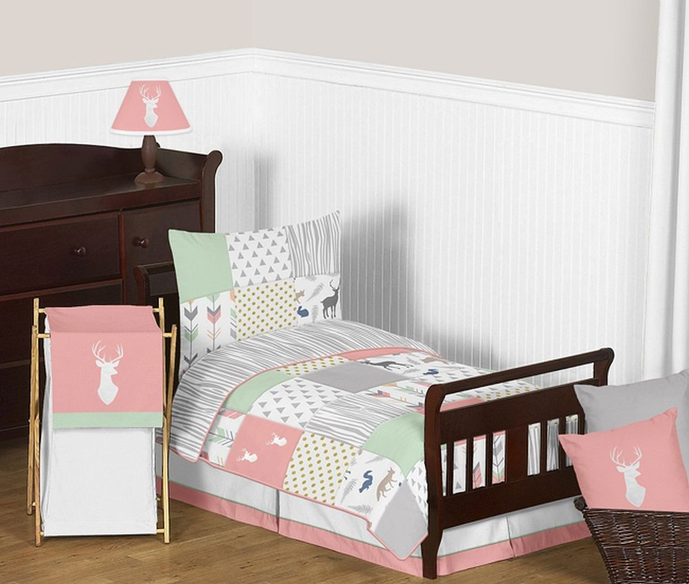 Woodsy Coral, Mint & Grey Toddler Bedding Set By Sweet Jojo Designs