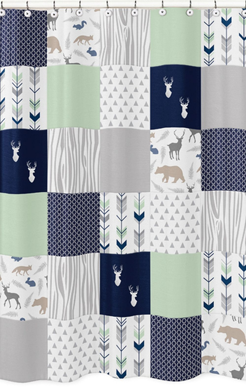 Woodsy Navy, Mint & Grey Shower Curtain