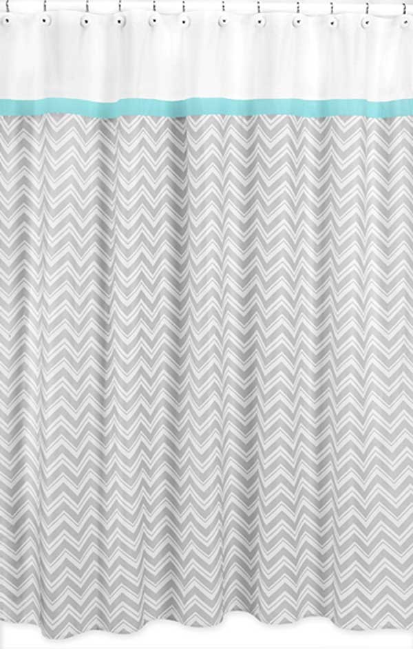 Zig Zag Turquoise Gray Chevron Print Shower Curtain
