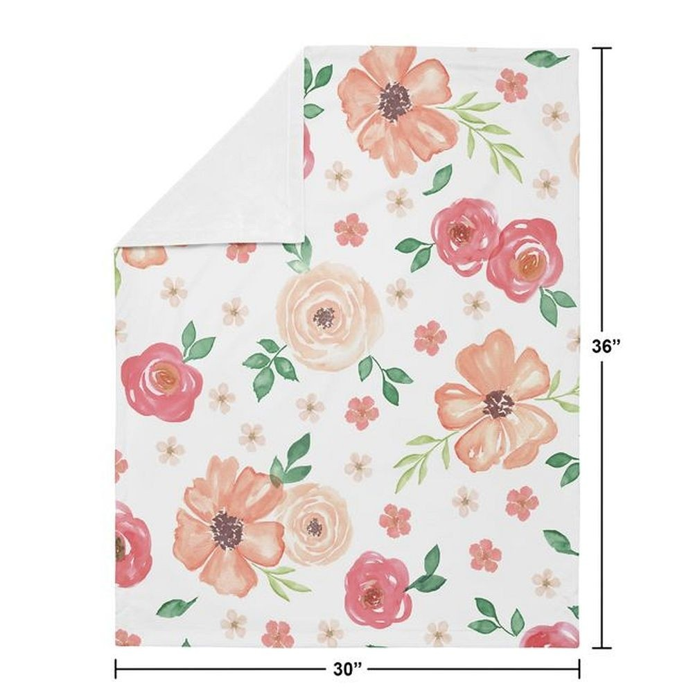 Watercolor Floral Peach and Green Baby Blanket