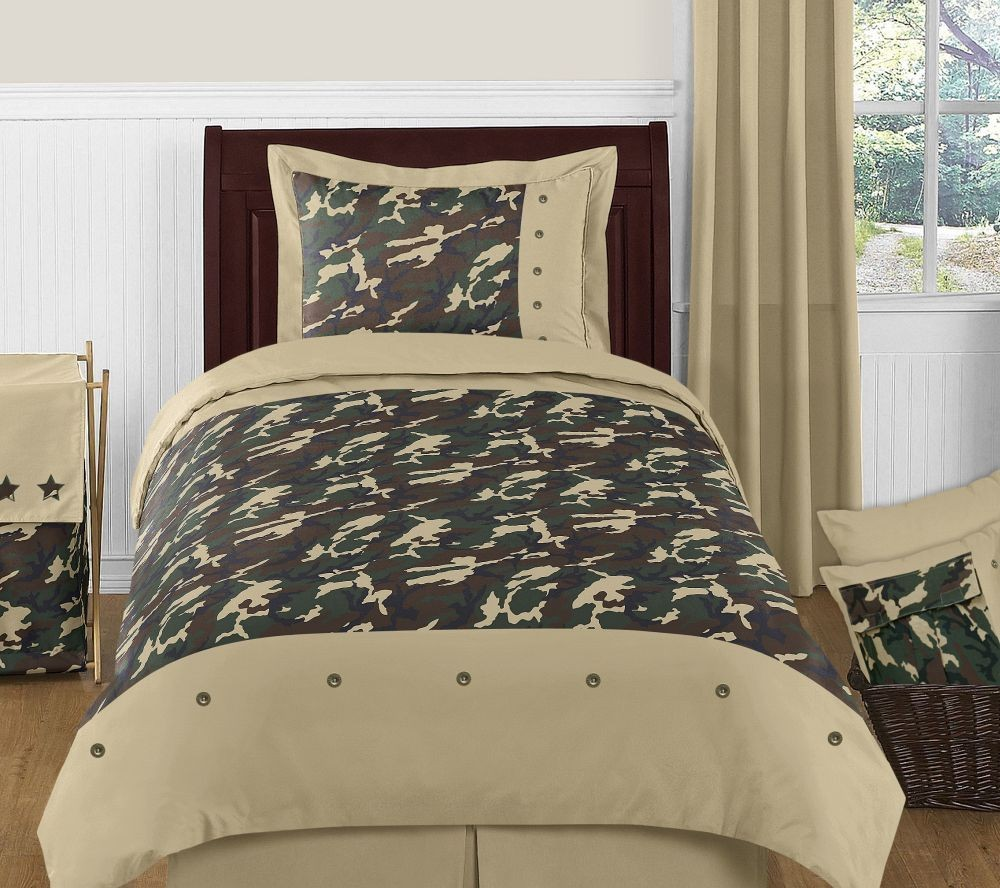 Green Camouflage Comforter Set - 4 Piece Twin Size By Sweet Jojo Designs