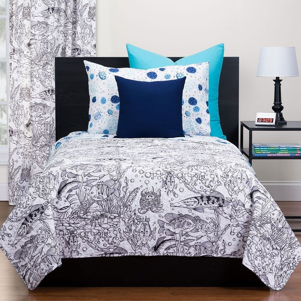 Under The Sea Puzzle Quilt - Highlights Hidden Pictures Collection - with washable markers. Available in Twin and Full/Queen