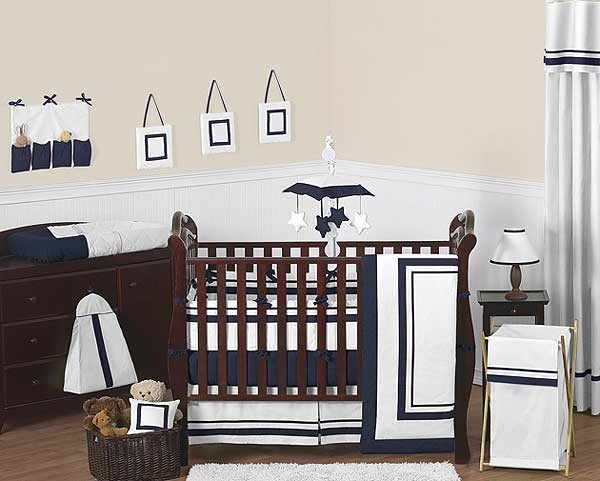 Hotel White Navy Blue Baby Bedding Set By Sweet Jojo Designs 9 Piece