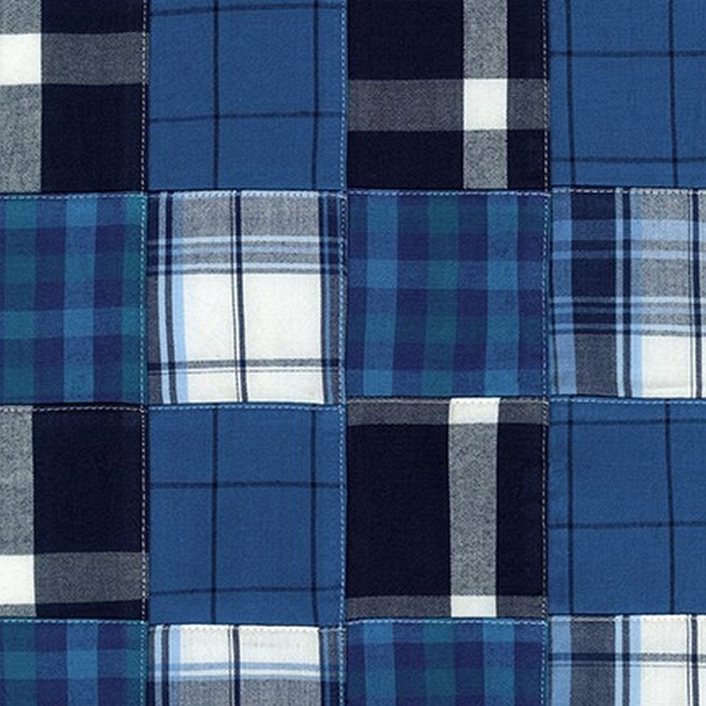 Navy Blue Madras Plaid Bunkbed Hugger with 4 Fitted Corners