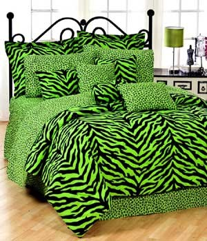 Zebra Print Dorm Room Bedding - Extra Long Twin Size - Available in 7 Color Combinations