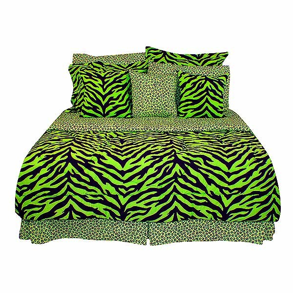 Black & Lime Green Zebra Print Extra Long Twin Size Bed in a Bag Set for  Dorm Rooms