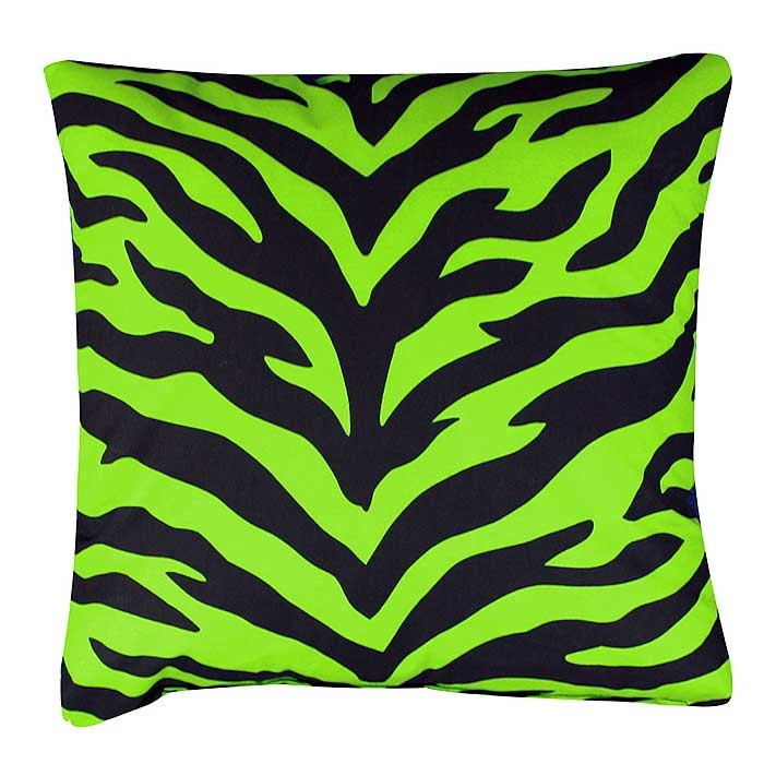 Black & Lime Green Zebra Square Accent Pillow