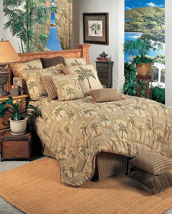 Palm Grove Tropical Comforter Set Twin Size Closeout