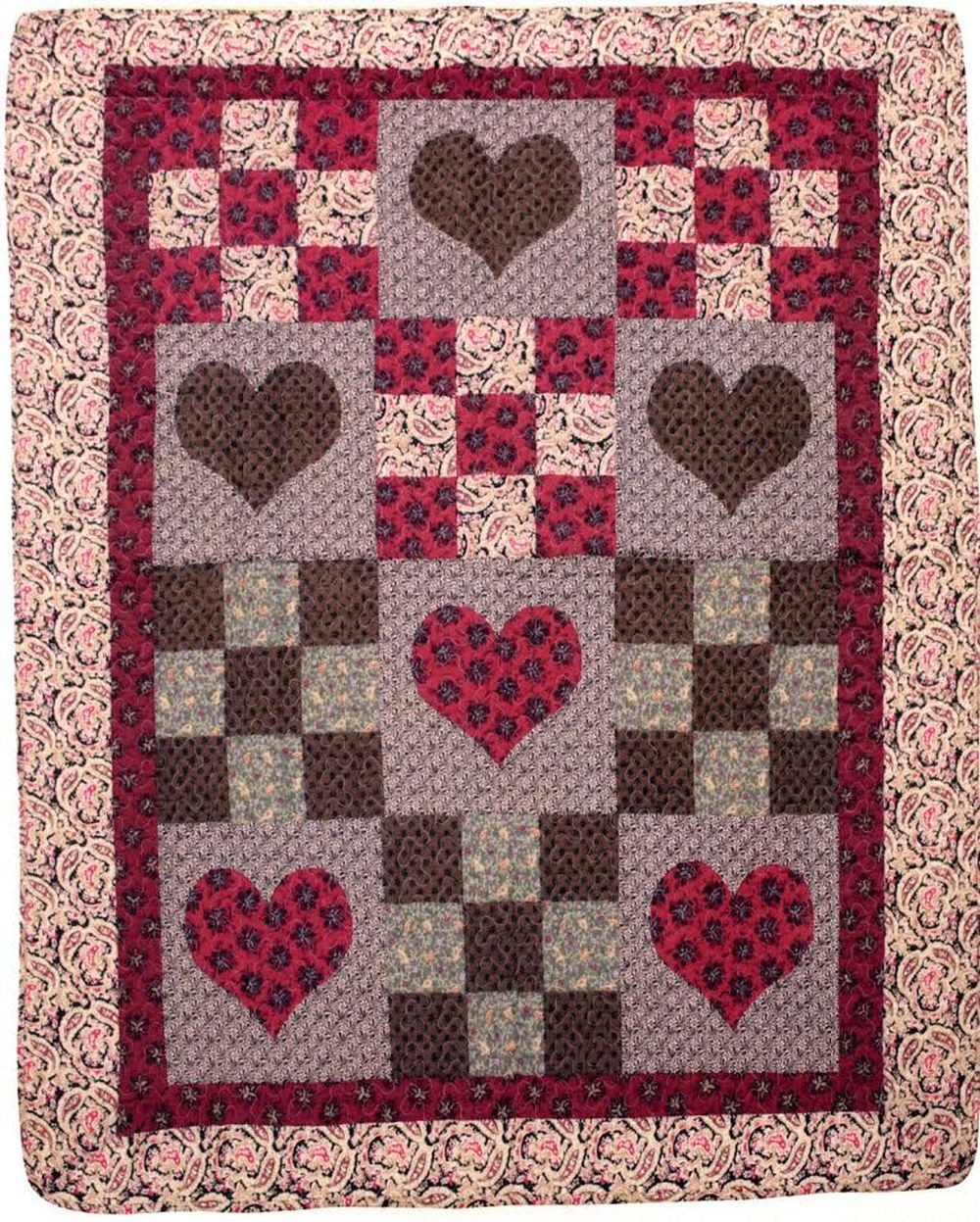 attractive Primative Hearts Part - 13: Primitive Hearts Throw Size Quilt Throw
