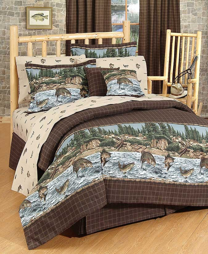 River Fishing Comforter and Sham - Twin Size