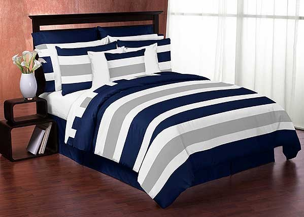 Navy Amp Gray Stripe Comforter Set 3 Piece Full Queen Size