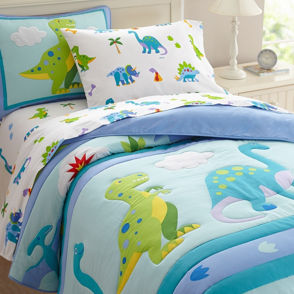 Olive Kids Dinosaur Land Twin Size 5 piece Bed in a Bag Set