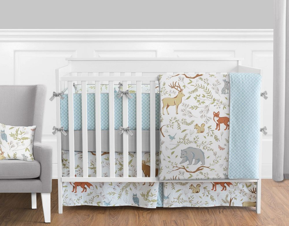 Woodland Toile Crib Bedding Set By Sweet Jojo Designs 9