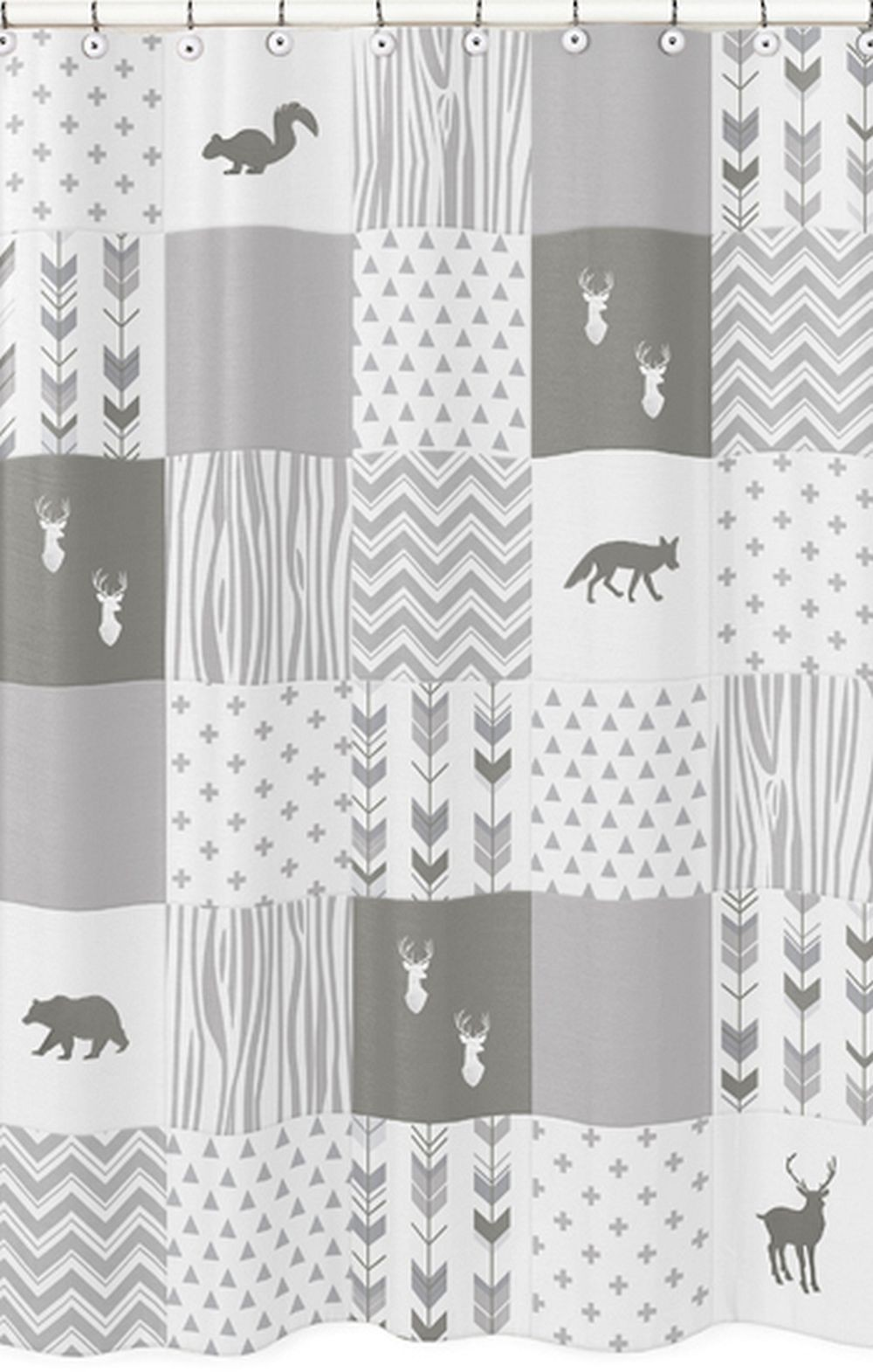 Woodsy Grey & White Shower Curtain - Blanket Warehouse