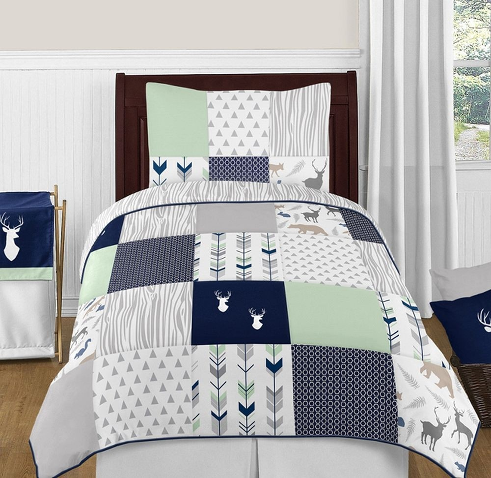 Woodsy Navy, Mint & Grey Bedding Set - 4 Piece Twin Size By Sweet Jojo Designs