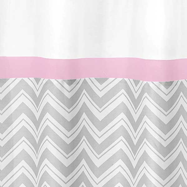 Zig Zag Pink Gray Chevron Print Shower Curtain