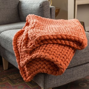 Chunky Knit Throw - Coral