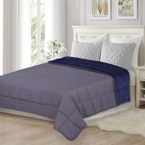 Cotton Weighted Blanket Queen - 20 Lbs  Gray reverses to Navy