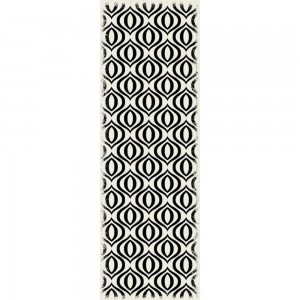 Ring of European Design - Size Rug: 2ft x 6ft Black & White