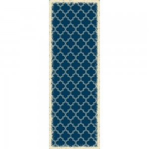 Quaterfoil Design - Size Rug: 2ft x 6ft Blue & White