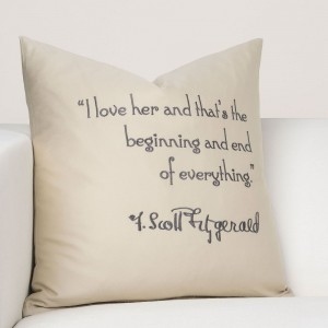 F Scott Fitzgerald Quote Pillows - Available in creme, oat and white