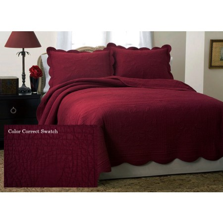 French Tile Deep Red Quilt - Full Size - Clearance