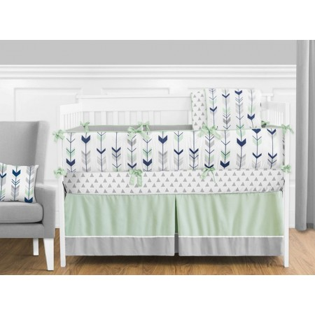 Mod Arrow Gray, Navy & Mint Crib Set by Sweet Jojo Designs